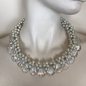 Julie Rubano pearl clear bib collar necklace